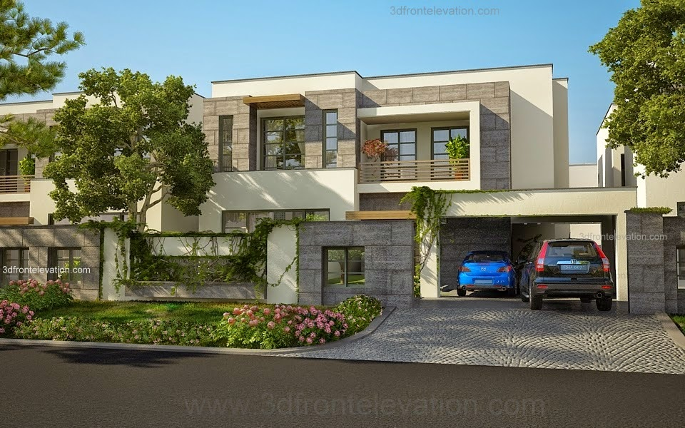 3d front modern house plans house designs for Modern house designs 3d
