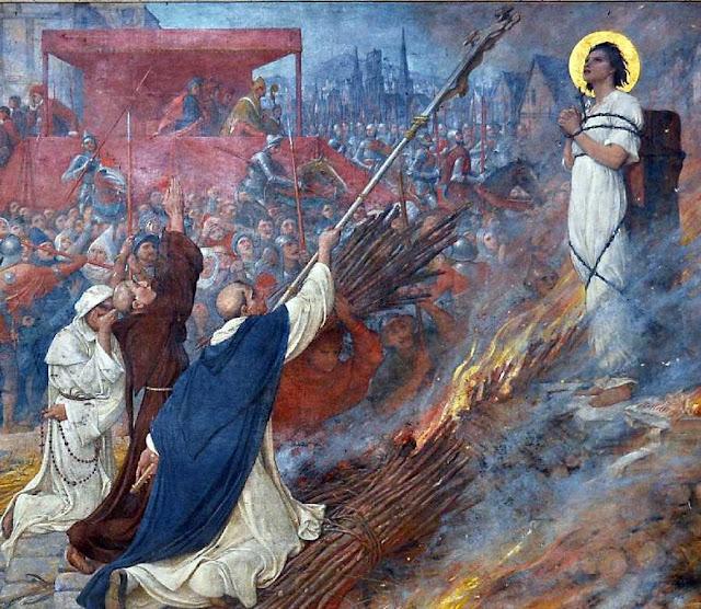 Santa Joana d'Arco na fogueira, últimos momentos
