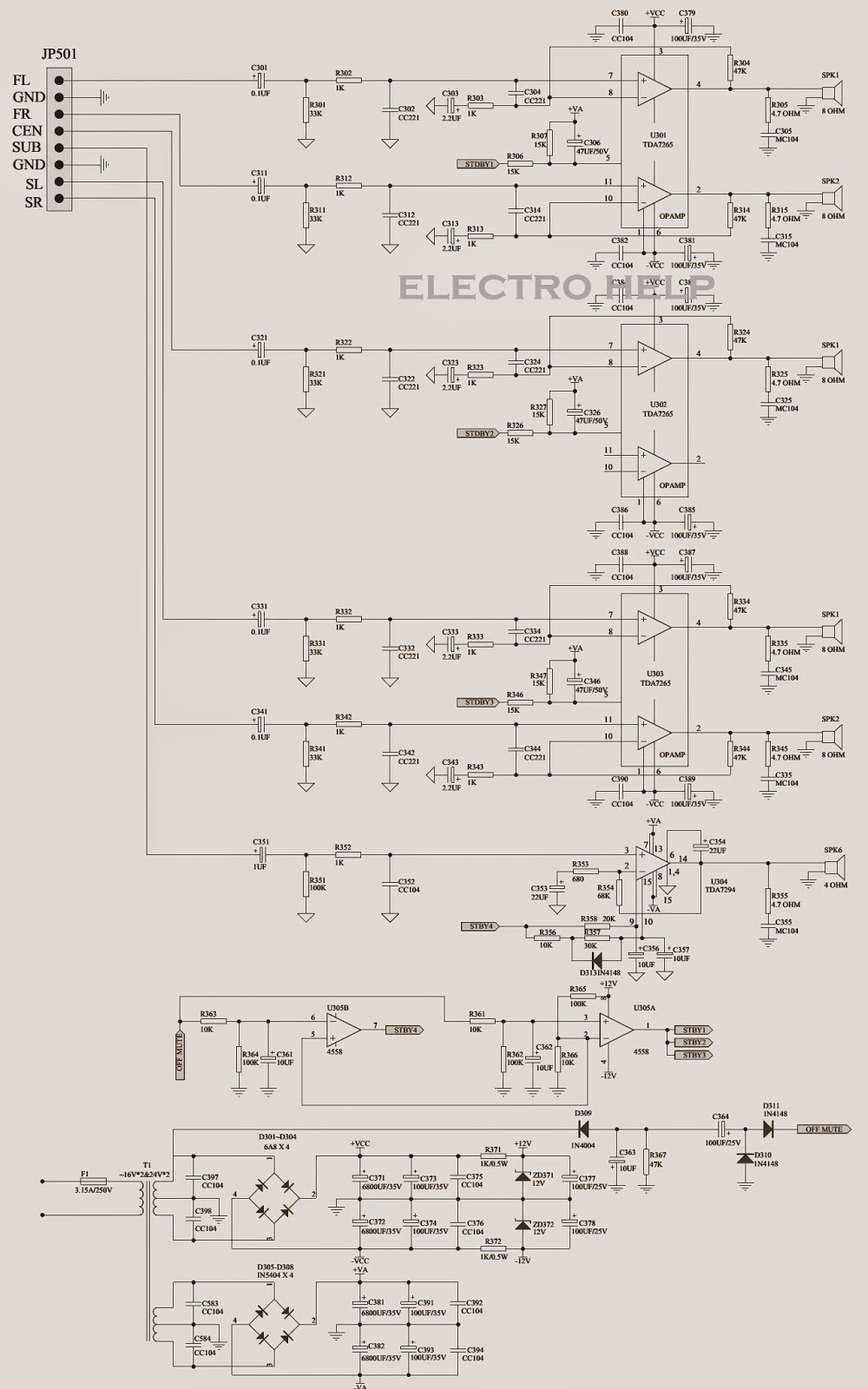 altec lansing vs2521 micorlab x25d x27d h500d 600d microlab click on the schematics to magnify