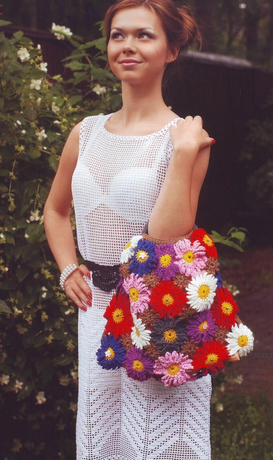 Вязание крючком цветков для платья 924