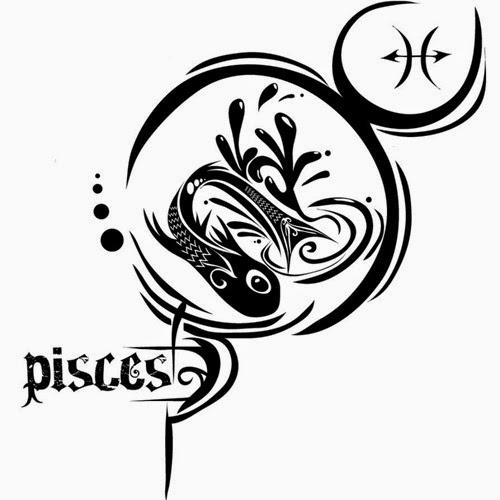 Pisces zondiac tattoo stencil