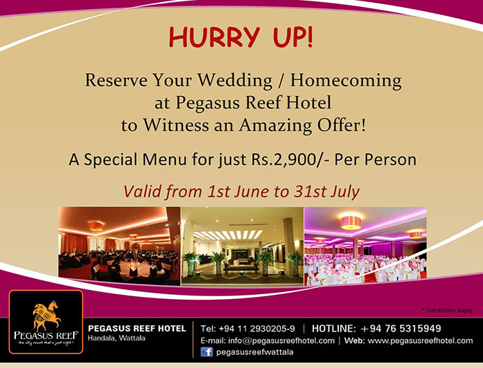 Reserve your Wedding / Homecoming at Pegasus Reef Hotel to Witness an Amazing Offer.