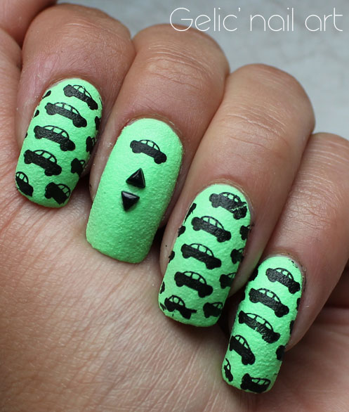 Gelic nail art ncc presents car nail art in black and green prinsesfo Gallery