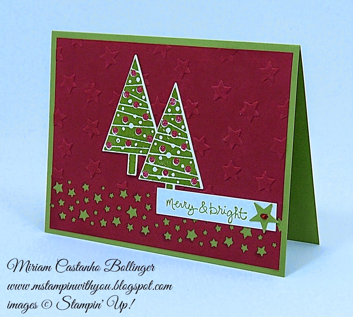 pp 210, Miriam Castanho Bollinger, #mstampinwithyou, stampin up, demonstrator, pp, festival of trees stamp set, good greetings stamp set, tree punch, confetti stars punch, itty bitty accents punch, lucky stars tief, heat embossing, su
