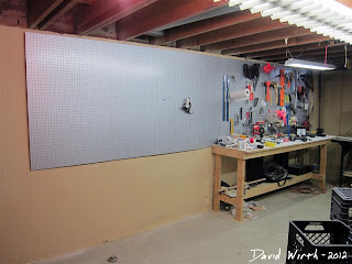 basement tool pegboard, how to hang on wall, mount, drill, backer board