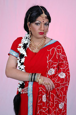 crossdressers 1 do you think that this girl in red saree with long ...
