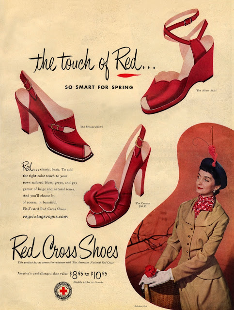 vintage red shoes advertisement in 1950s