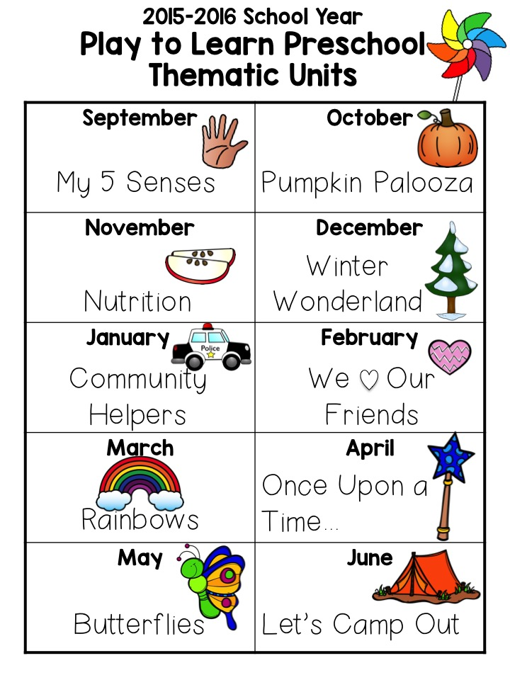 may preschool themes play to learn preschool plan themes for the year 236