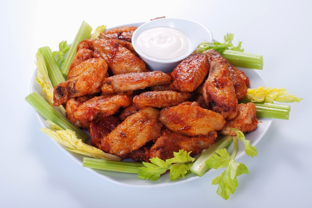 simple and super easy baby shower food ideas, dessert inspirations - chicken wings with dip