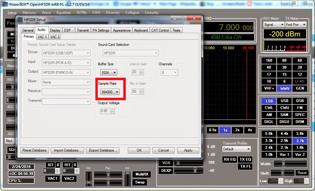 Using the HPSDR System Dealing With Distortion And Transients – Sample Rate Sheet