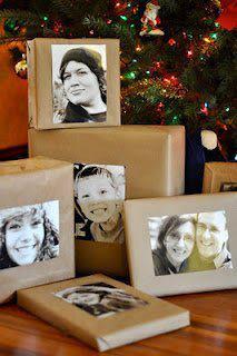 Embalagem de natal com fotos