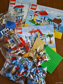 lego beach house - five bags of bricks and three instructions