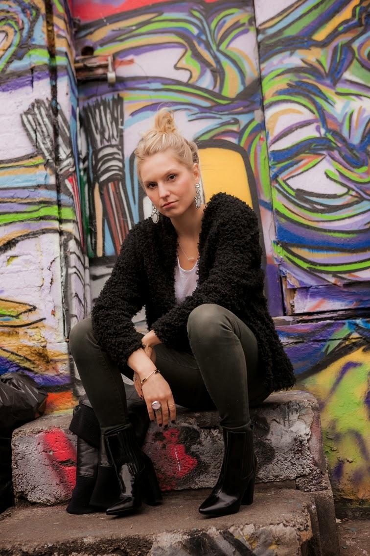 Graffiti street style furry cardigan Pour la Victoire boots