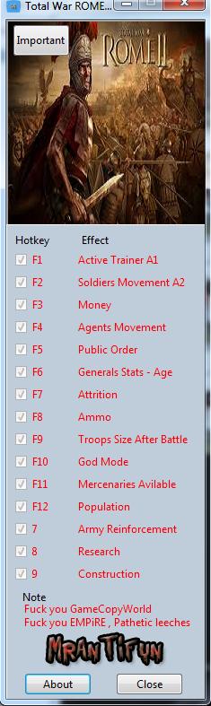 Total War ROME II V1.11.0 Build 10383 Reloaded Trainer +15