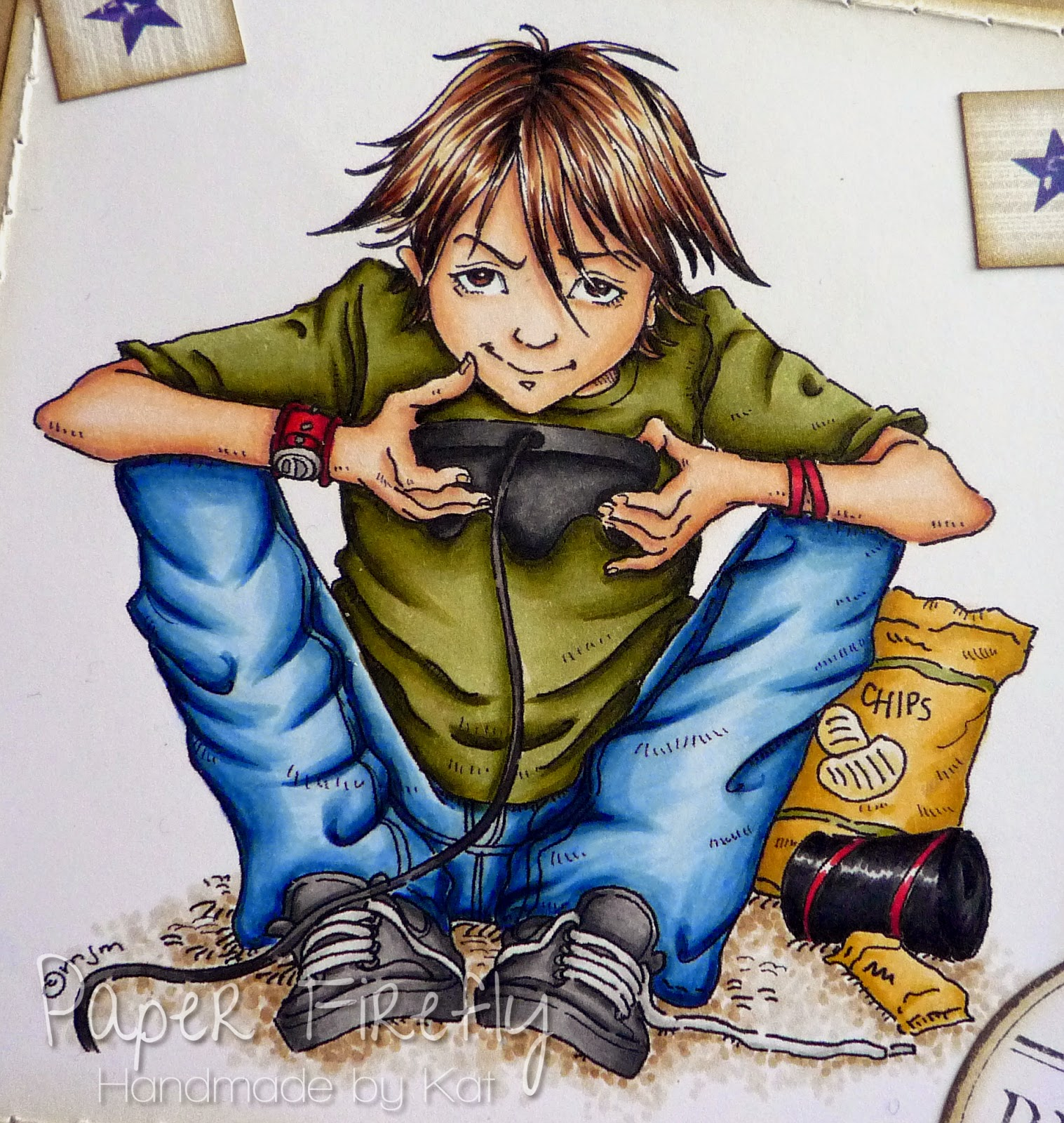 Boy playing computer games - digi image by Mo Manning, coloured with Copics