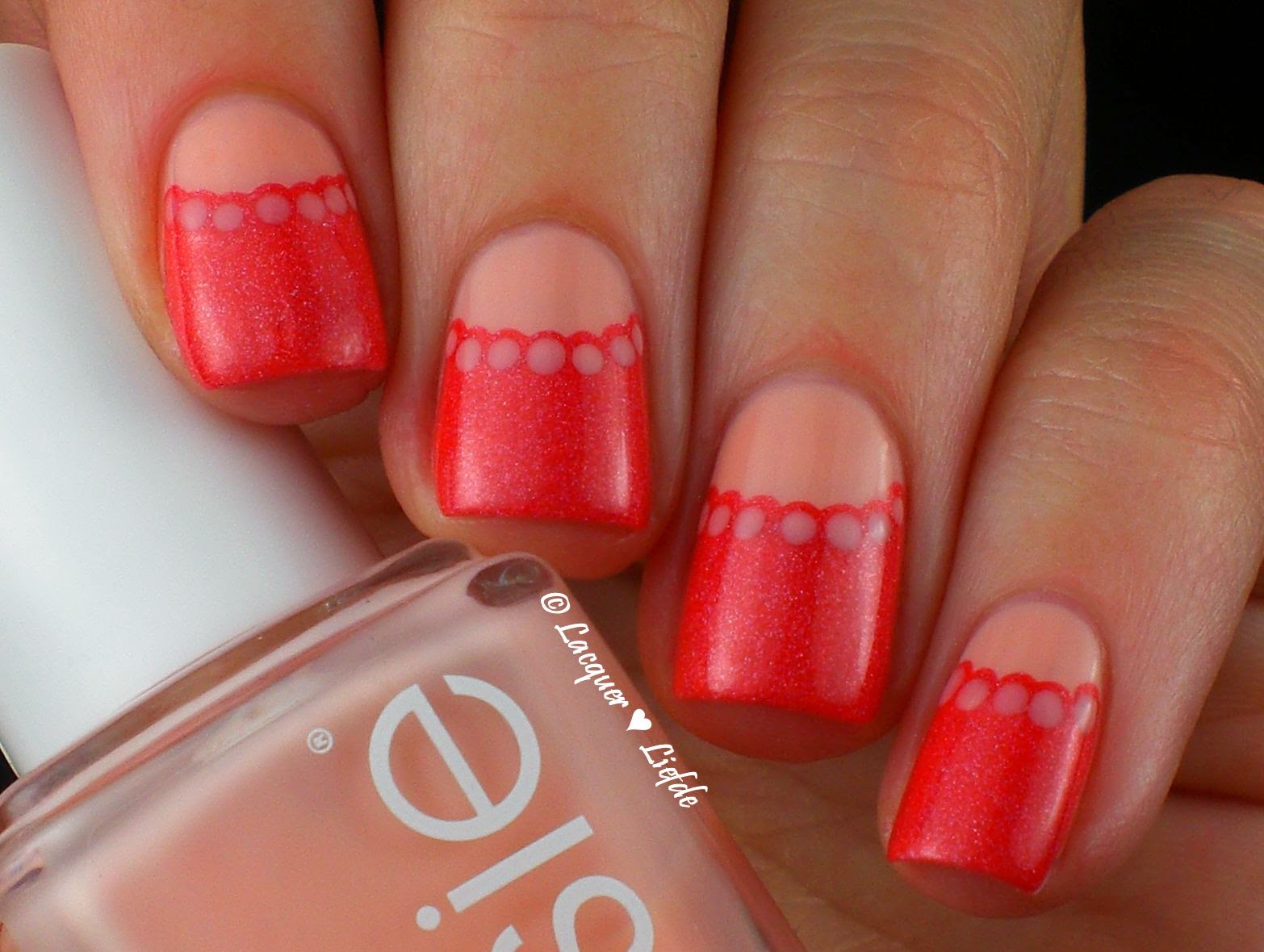 Halfmoon Dotting Design with Lilypad Sweet as a Peach, Essie and Catrice Ultra Stay Gel Shine
