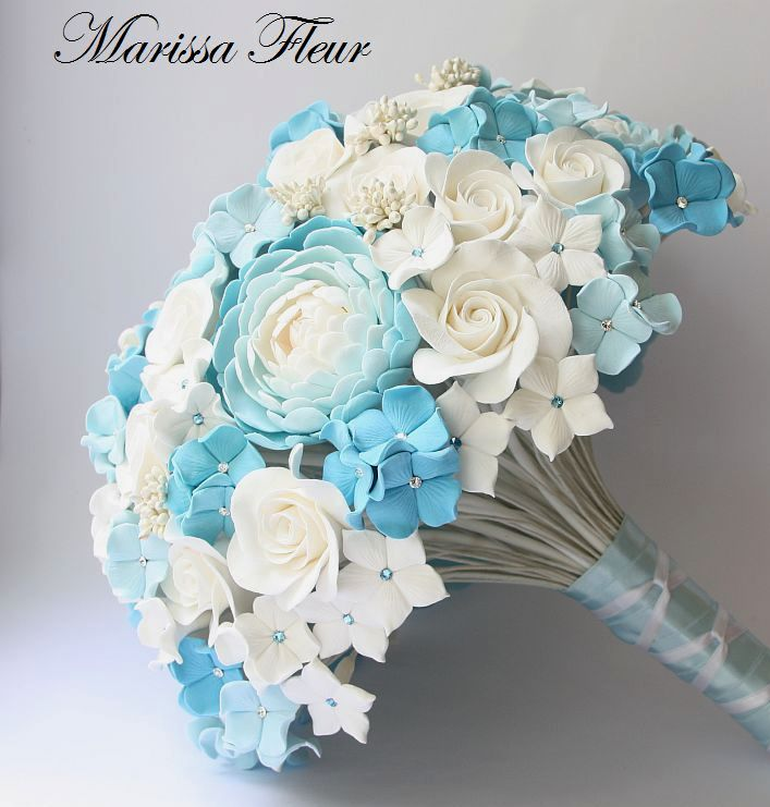 A Touch Of Beauty...: White And Light Blue Bridal Bouquet With ...