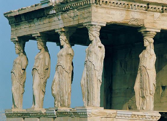 Cariatides del Erecteion. Arquitectura de grecia antigua. arte en grecia. Historia de grecia. La acropolis de atenas