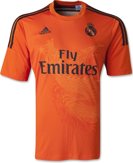 The new Real Madrid Dragon 2014-15 Goalkeeper Away Kit is Orange