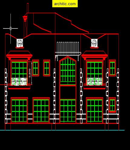 The gallery for villa savoye plan dwg for Villa plan dwg