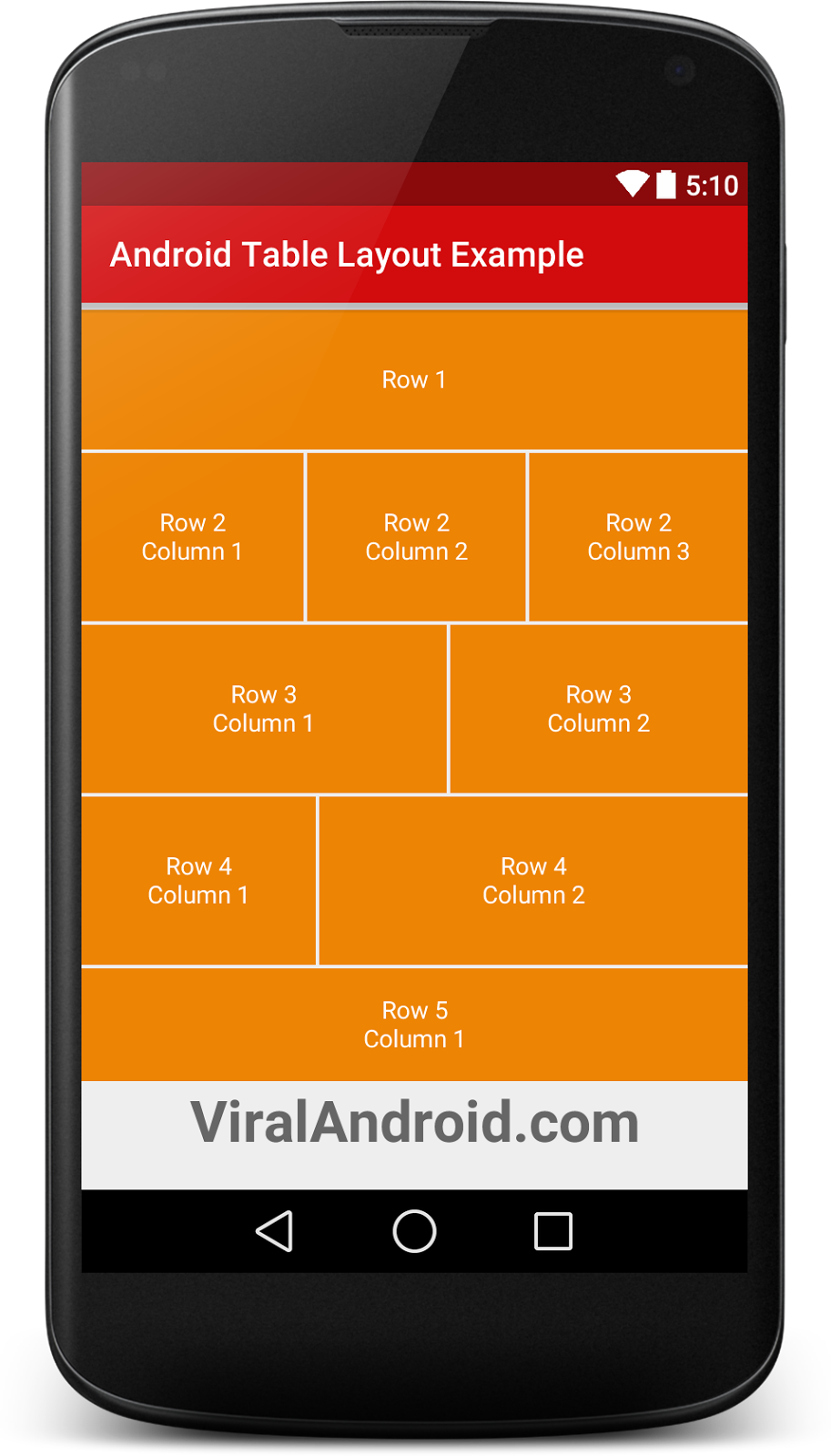Android Table Layout Example