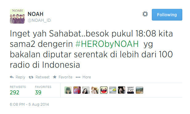 noah band rilis lagu hero
