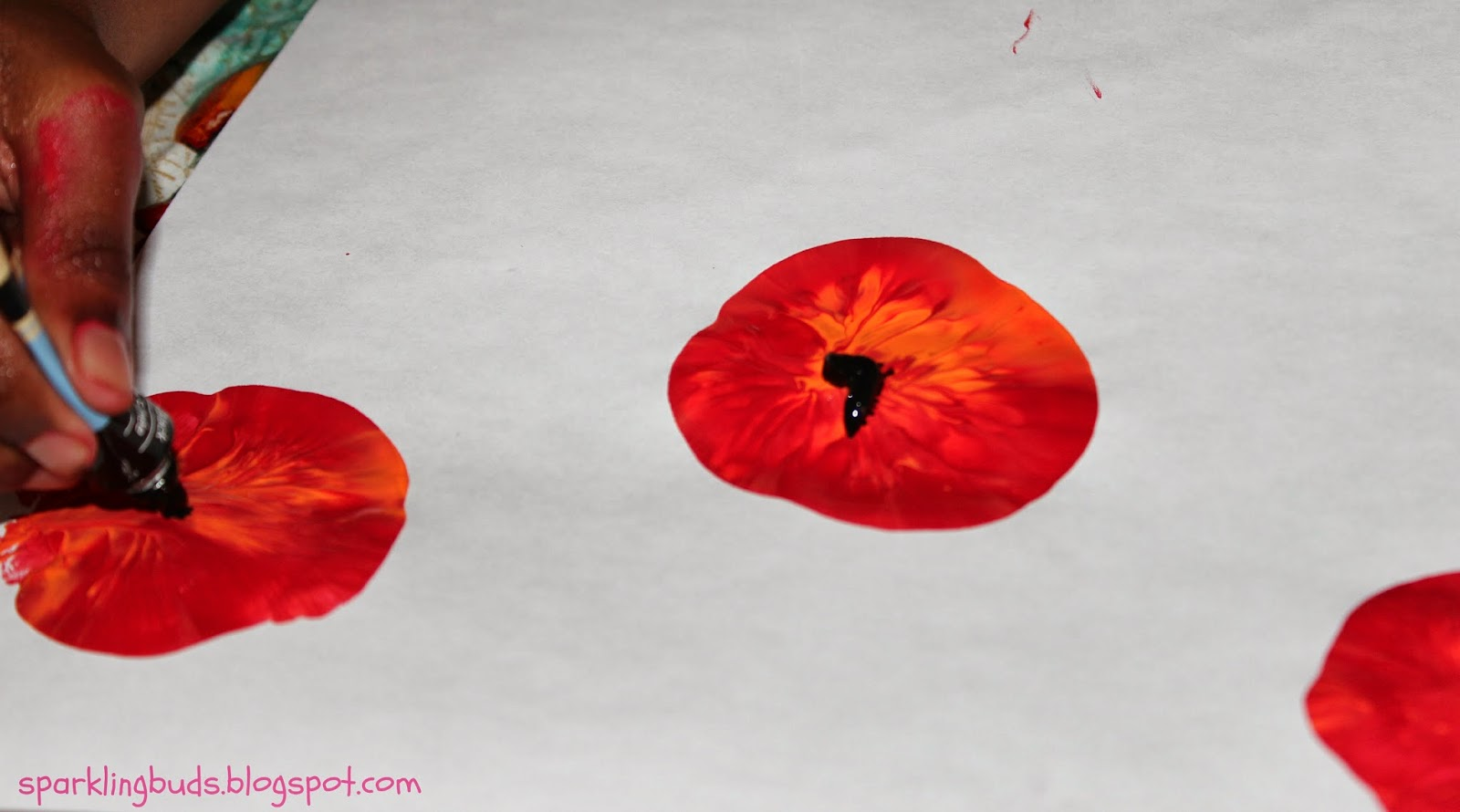 Poppy flowers - painting with Kids - sparklingbuds