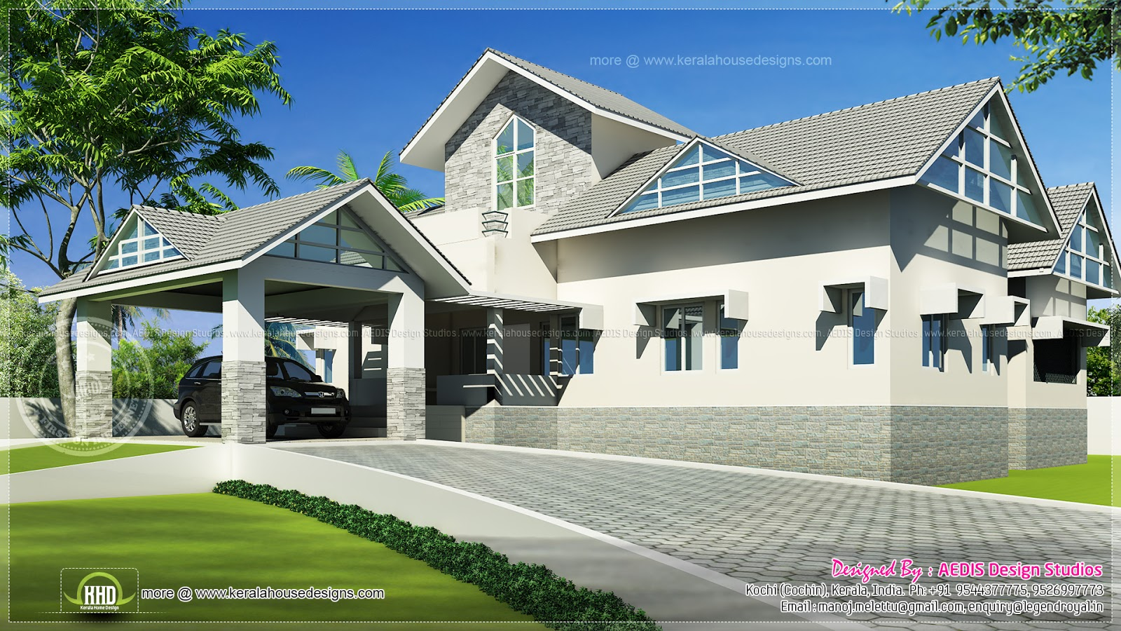 Western model 3 bedroom house design in kerala kerala for Western home plans