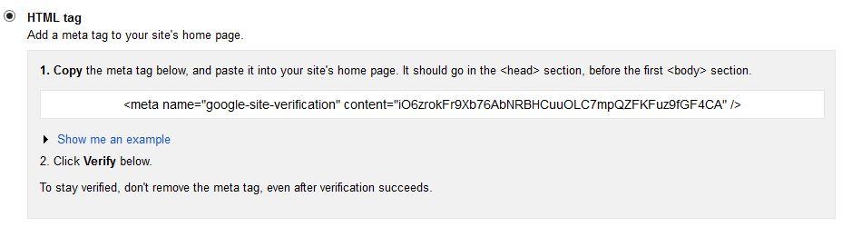 webmaster meta tag verity