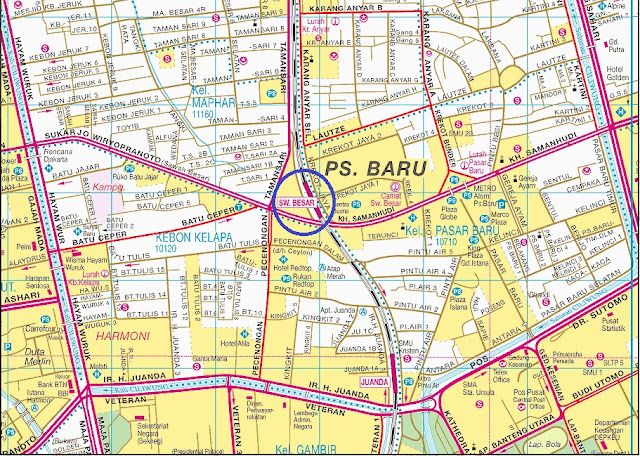 Peta lokasi stasiun kereta api sawah besar
