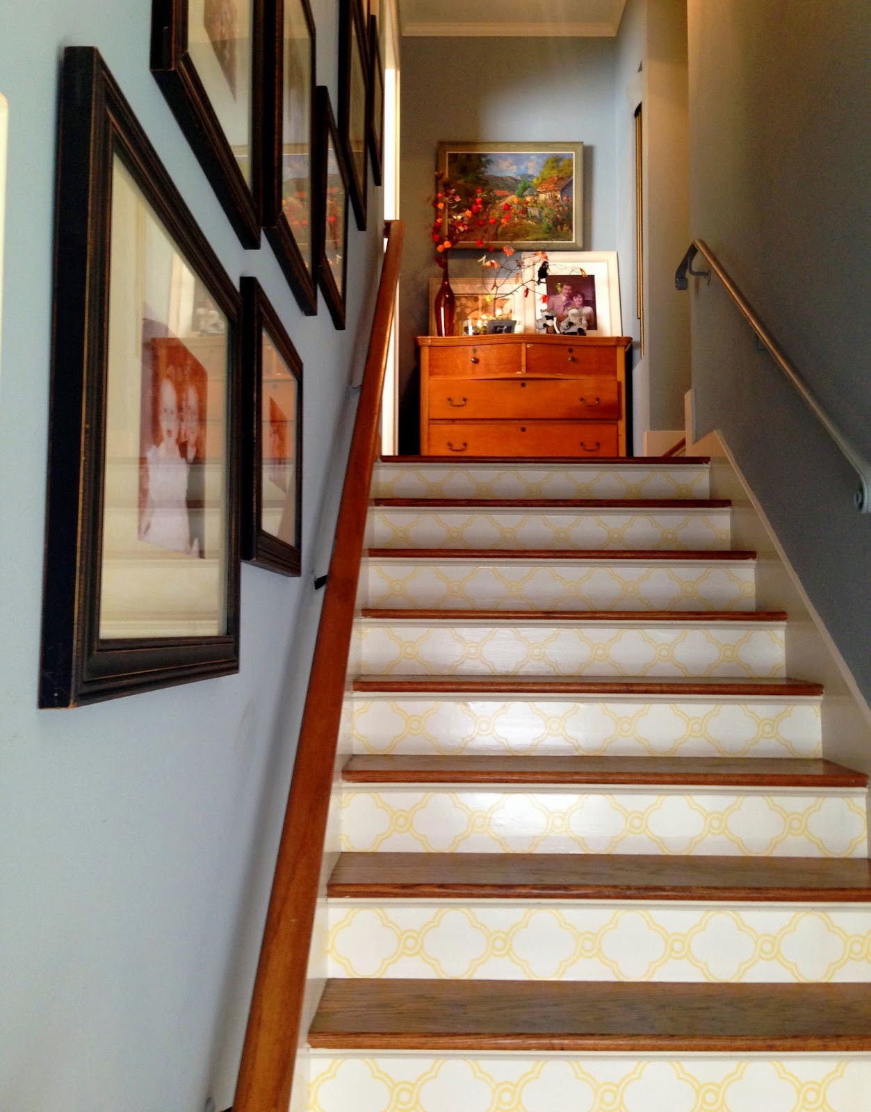 Beautiful How To Wallpaper Stair Risers Idea