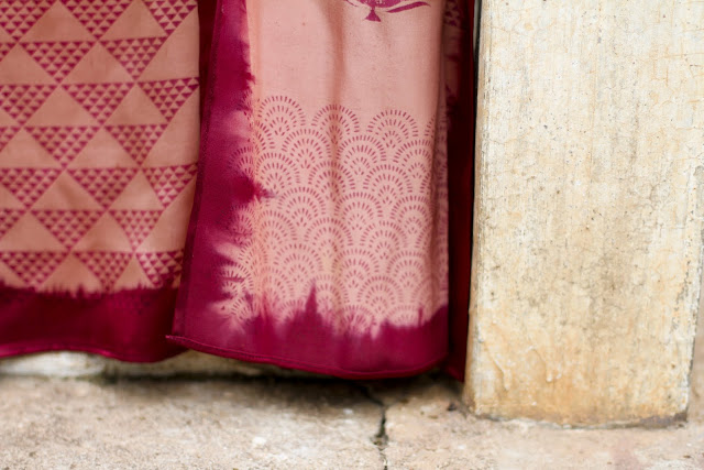 contemporary indian silk shawls, block printed silk, pink