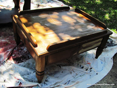 wooden end table turned into a dog bed