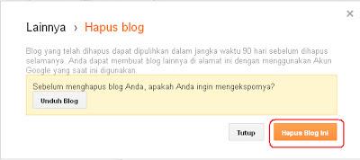 Klik Hapus Blog Ini