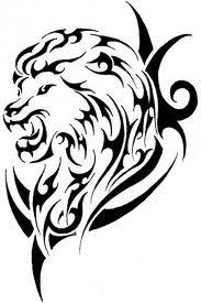 Motif Tato Singa Hitam Putih 19