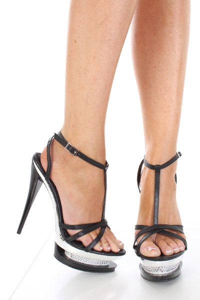 Black Strappy Open Toe Carved Glitter Platform Heels