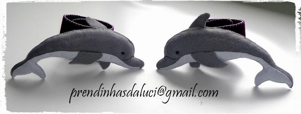 prendedor de cortinados golfinhos em feltro