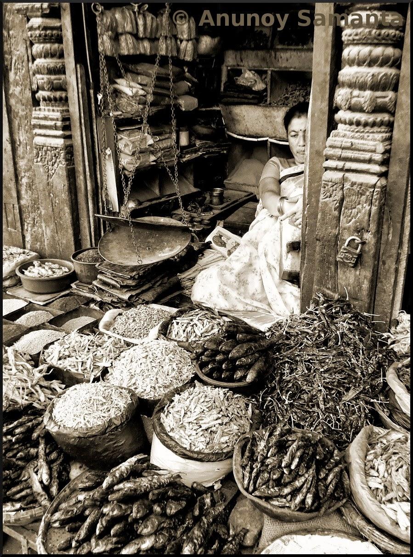 Carved Wooden vintage Grocery Shop in Kathmandu