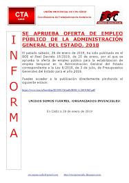 SE APRUEBA OFERTA DE EMPLEO PÚBLICO DE LA ADMINISTRACIÓN GENERAL DEL ESTADO, 2018