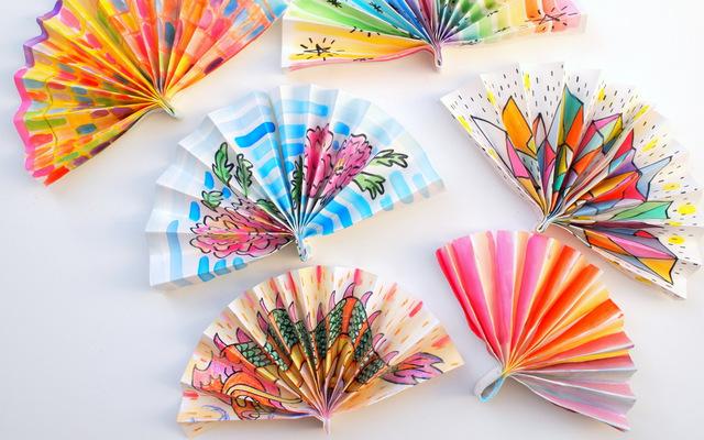 Watercolor Painted Paper Fans Pink Stripey Socks