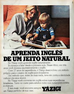 propaganda curso de inglês Yázigi - 1978; os anos 70; propaganda na década de 70; Brazil in the 70s, história anos 70; Oswaldo Hernandez;