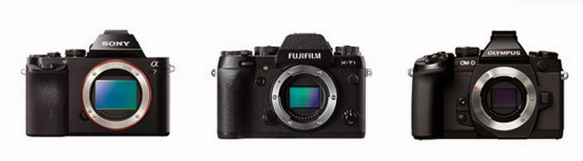 Fuji X-T1 vs Olympus OM-D E-M1 vs Sony A7 and A7R, Fujifilm X-T1, Sony Alpha A7, Olympus OMD EM1, mirrorless camera,