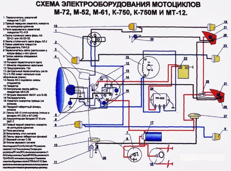 Урал м-66 схема проводки