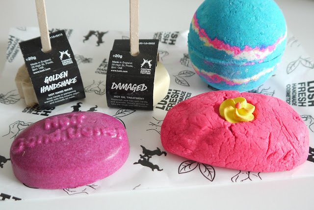 LUSH PRODUCTS, GOLDEN HANDSHAKE, DAMAGED, BATH BOMB, CREAMY CANDY