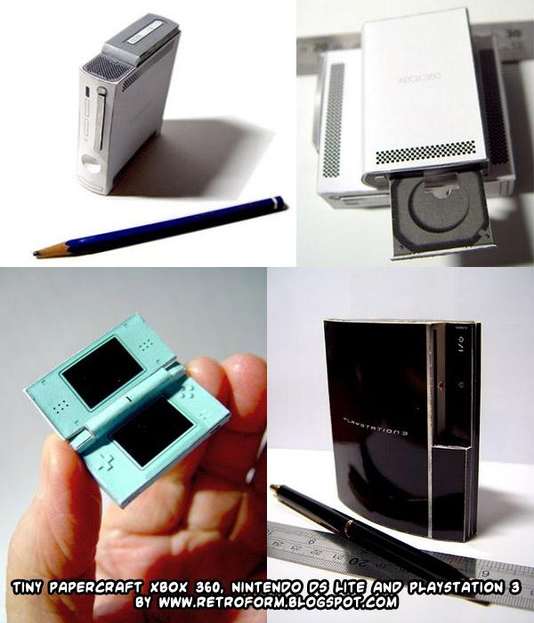 Weblog d l tiny papercraft xbox nintendo ds lite and playstation 3