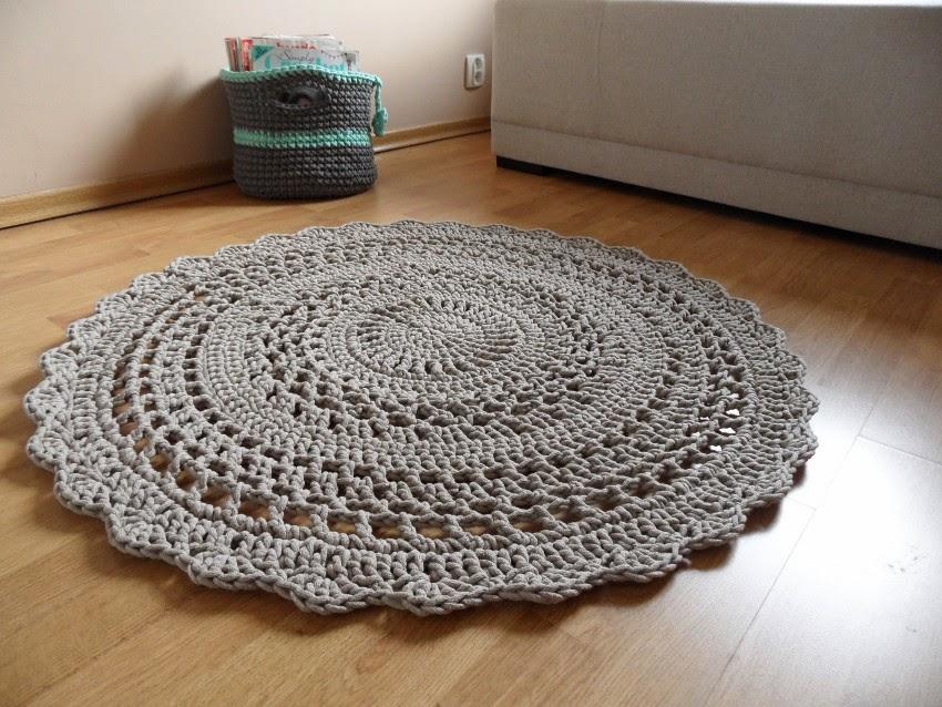 szydełkowy dywan z bawełnianego sznurka