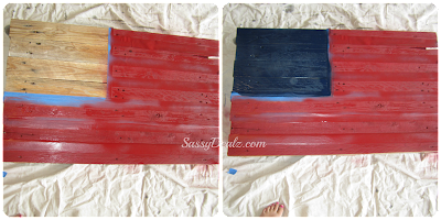 painting the flag red and blue of the wood pallet