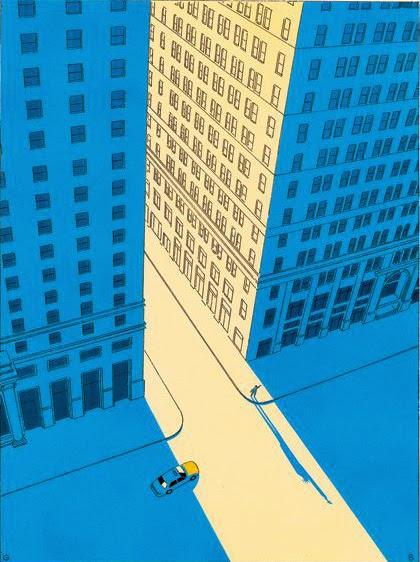 illustration by Guy Billout of a car in the city seen from above