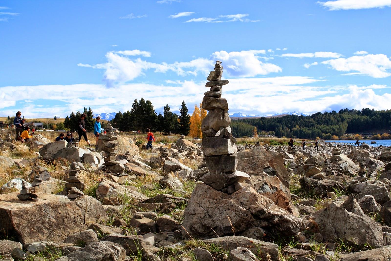 More standing stones at Lake Tekapo.