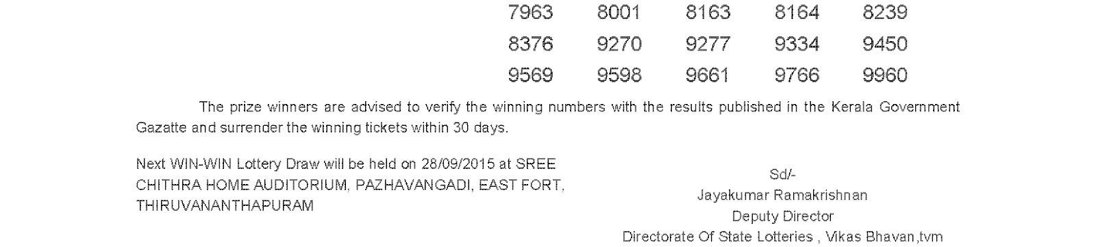 WIN WIN Lottery W 326 Result 21-9-2015